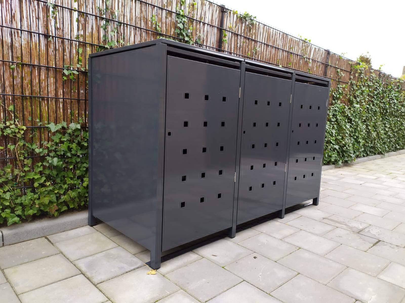 """3er Mülltonnenbox metall mit Klappdach und Stanzung  """"ST 3/5"""""""