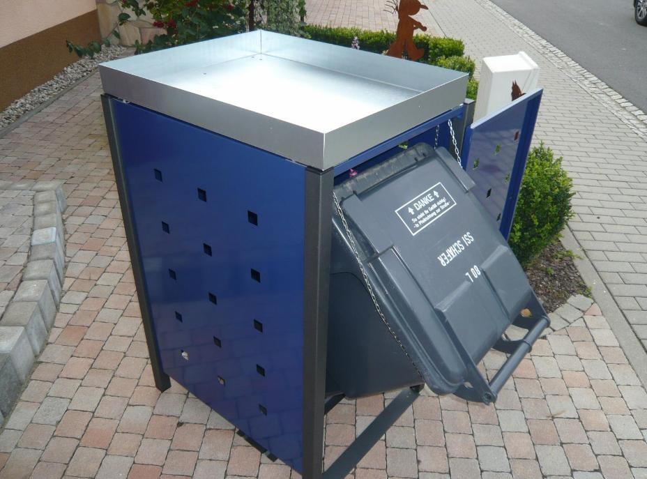 1er Mülltonnenbox metall mit Pflanzdach und Kippvorrichtung