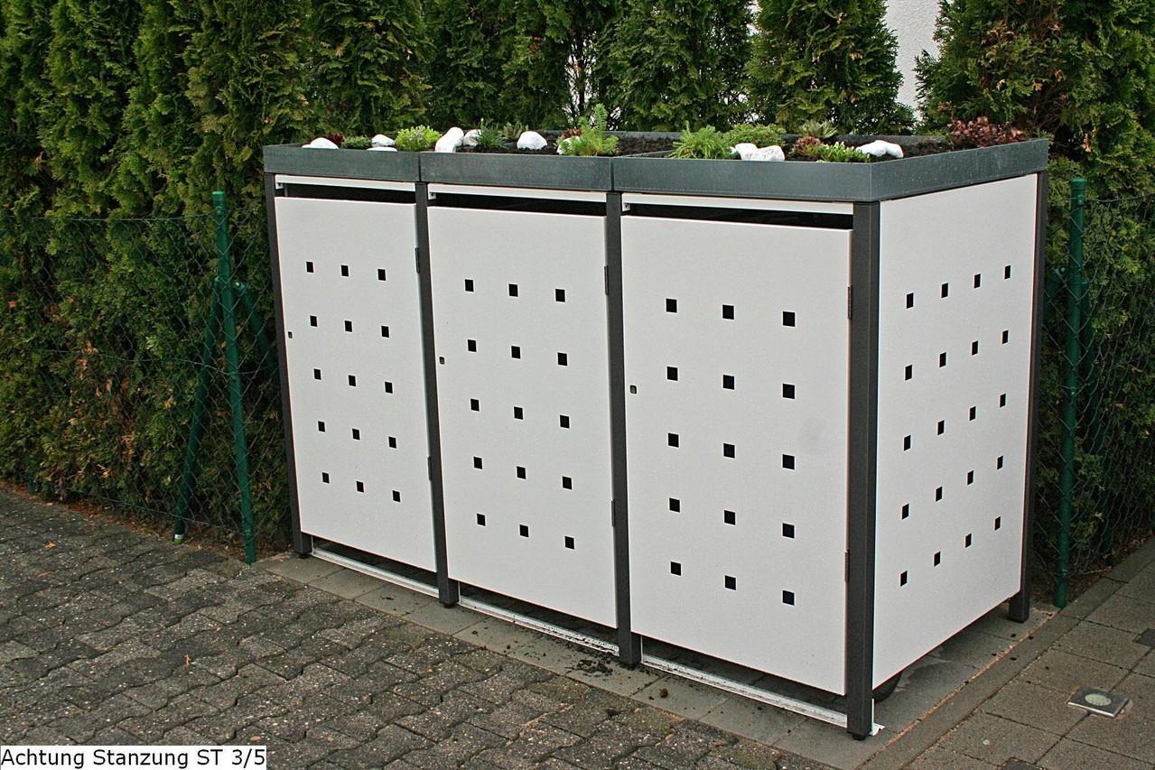 3er m lltonnenbox 240l mit pflanzdach. Black Bedroom Furniture Sets. Home Design Ideas