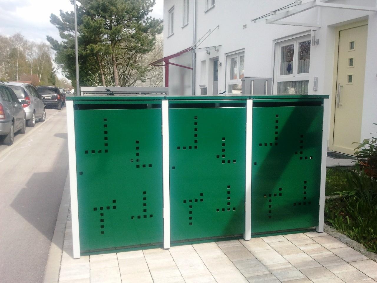 """3er Mülltonnenbox metalll mit Klappdach mit Stanzung """"Serie"""" (L-Form)"""