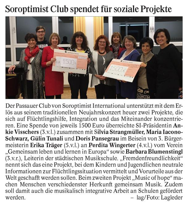 Soroptimist Club Passau, 1500 Euro Spende, Musikschule Passau, Verein Gemeinsam leben und lernen in Europa
