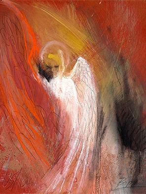 Engelbild abstrakt, Engel der Herzenswärme, gemalt von Jopie Bopp, Weihnachtsengel, Leinwandbild