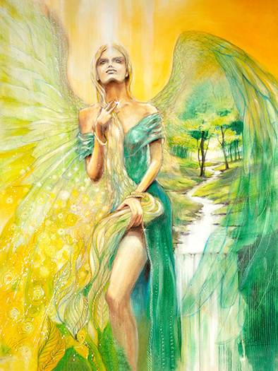 Engelbild, Freyja, Keltische Mutter-Göttin, Engel des Frühsommers Leinwandbild #Engel