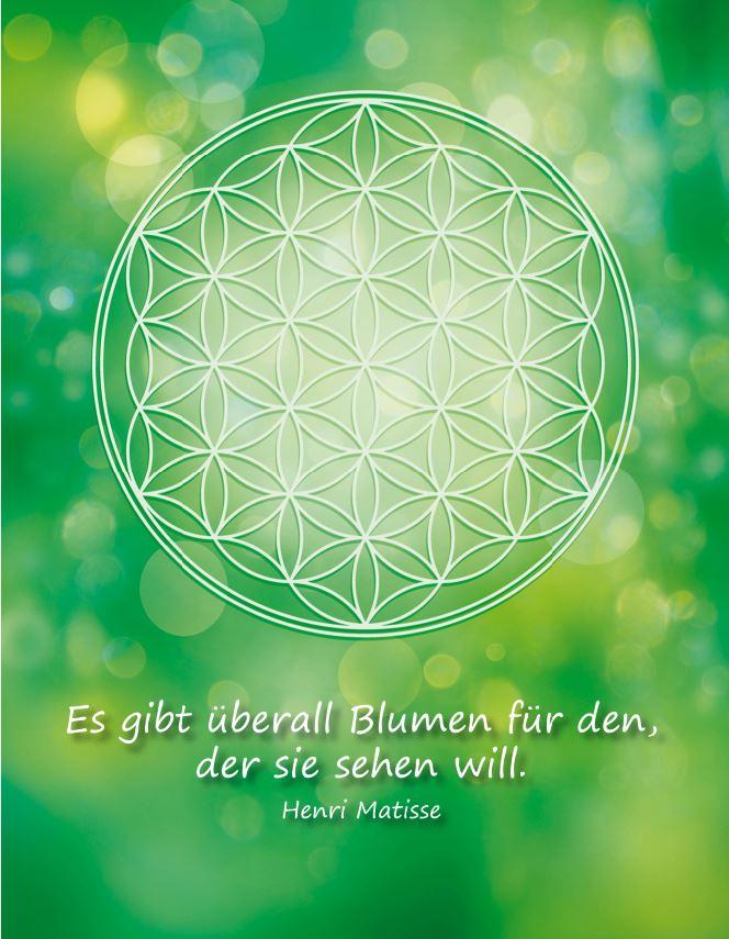 Postkarte Blume des Lebens in Grün