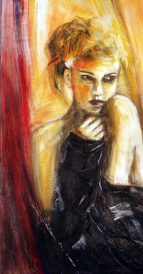 Hildegunde, Eitemperamalerie 100 cm x 60 cm