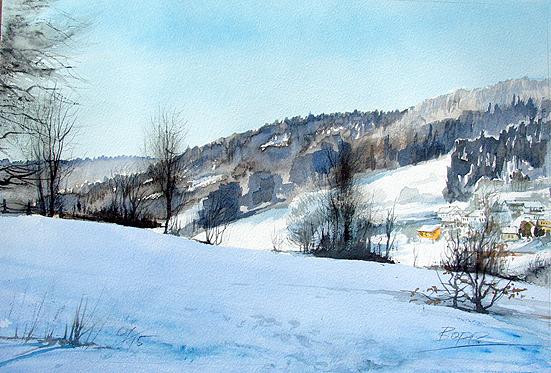 Landschaftsaquarell Winterlandschaft gemalt von Jopie Bopp