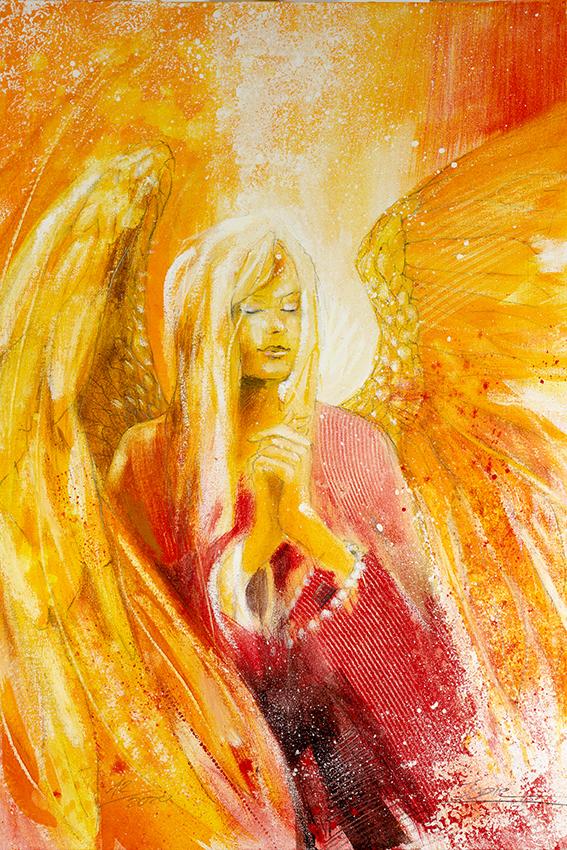 Wanbild Engelbild Leinwandbild Engelgemälde Engel des Gebetes gemalt von Jopie Bopp