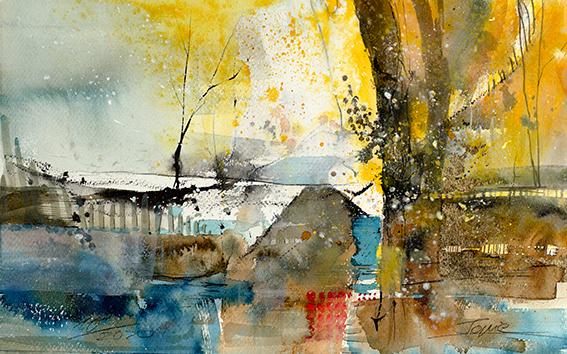 Haus am See, #Aquarell #Jopie #Bopp #Element #Wasser #abstrakt #Abstraktemalerei