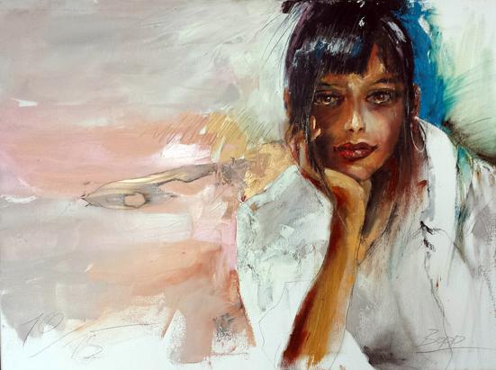 Frauenportait, Ölmalerei gespachtelt, 60 cm x 80 cm