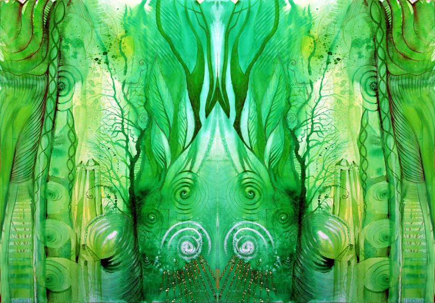 Spiegelwelt der Farbe Grün