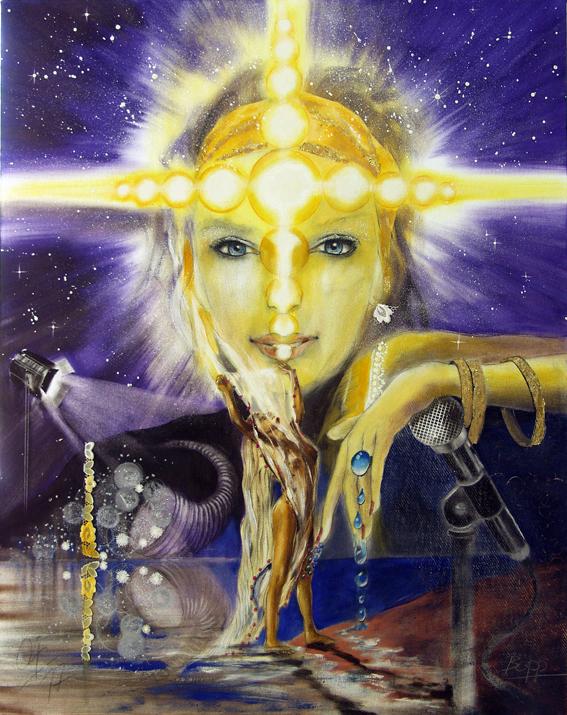 Der Stern/ Sakis-Tarot, gemalt von Jopie Bopp, Leinwandbild Tarotkarte der Stern