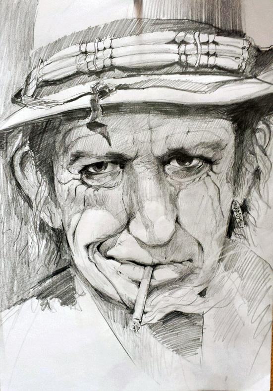 Keith Richards, Bleistiftzeichnung, 40 cm x 50 cm