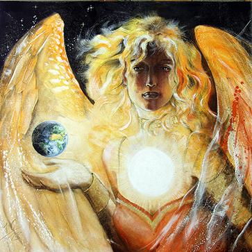 Erzengel, Engel der Sonne. Engelbilder, spirituelle Malerei, Leinwanddrucke, Poster, Wandbilder