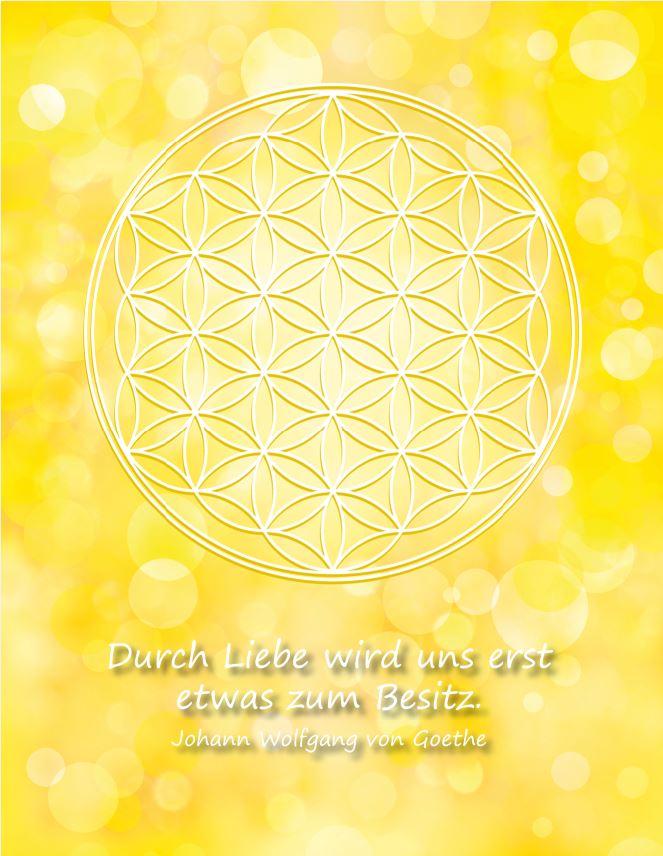 Postkarte Blume des Lebens in Gelb