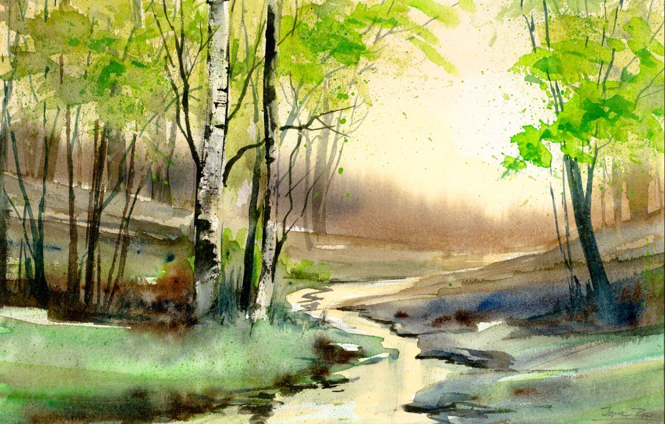 Landschaftsaquarell Brühling, Birken, Bachlandschaft gemalt von Jopie Bopp
