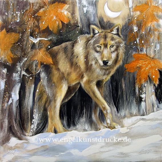 Krafttier-Bild Wolf / Element Erde, gemalt Jopie Bopp, Leinwandbild, Kunstdruck, Poster