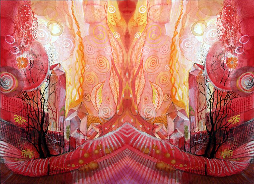 Spiegelwelt der Farbe Rot