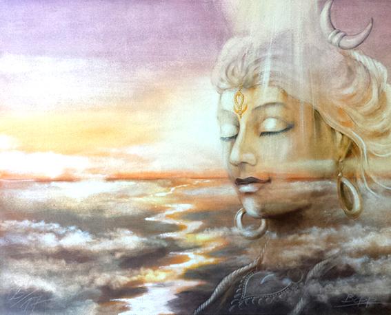 Indische Göttin Shiva, gemalt von Jopie Bopp, Leinwandbild, Kunstdruck, Poster
