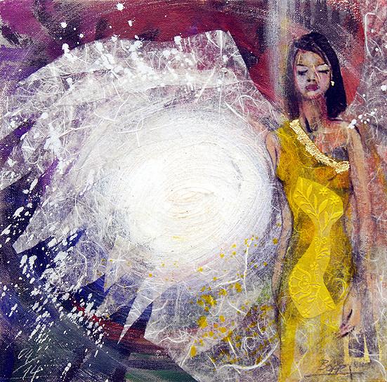Engelbild, Schutzengel, Wächter-Engel, gemalt von Jopie Bopp, Leinwandbild, Kunstdruck, Poster