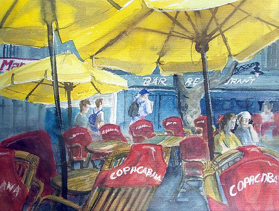 Ortsansicht Collioure Südfrankreich Straßencafè, Aquarell gemalt von Jopie Bopp