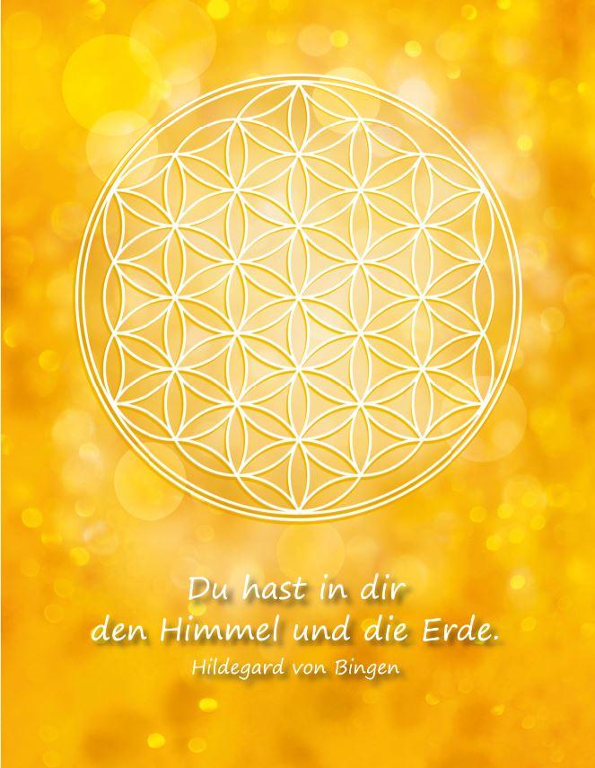 Postkarte Blume des Lebens in Gold