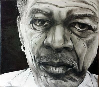 Morgan Freeman, Ölfarbe, 100 cm x 80 cm
