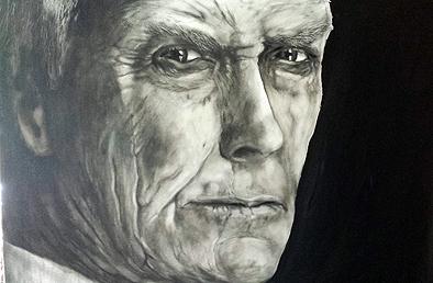 Clint Eastwood, Ölfarbe, 100 cm x 80 cm
