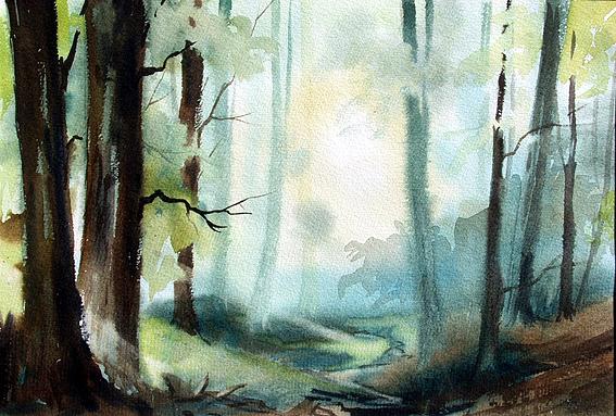 Waldlandschaft / Odenwald / Aquarell, gemalt von Jopie Bopp, Leinwandbild