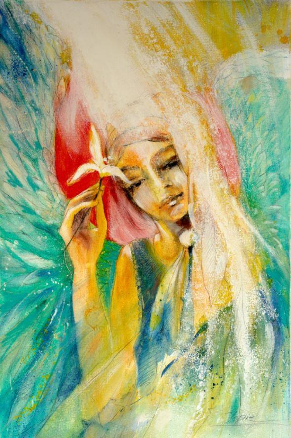 Wanbild Engelbild Leinwandbild Engelgemälde Engel der Selbstliebe gemalt von Jopie Bopp