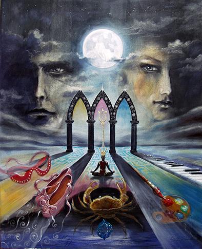 Der Mond / Sakis-Tarot, gemalt von Jopie Bopp, Leinwandbild Tarotkarte Der Mond