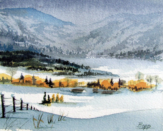 Winterlandschaft / Aquarell