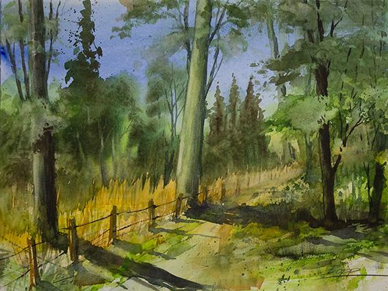 Abendlicht Waldlandschaft / Odenwald / Aquarell, gemalt von Jopie Bopp, Leinwandbild