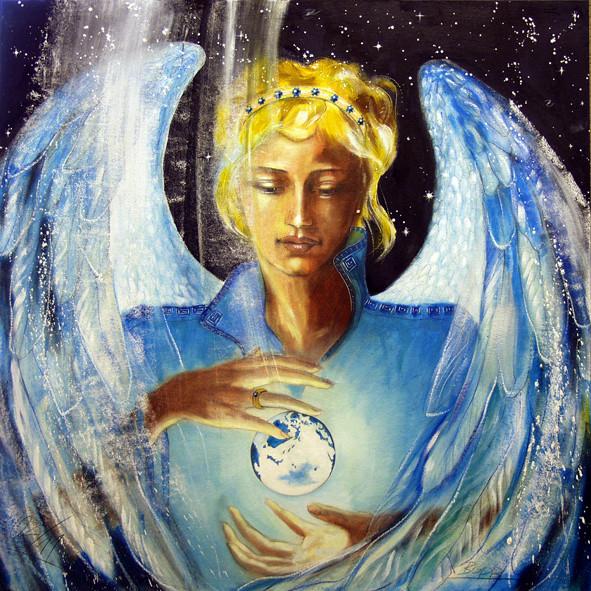 Engelbild Erzengel Zadkiel gemalt - Engelbilder von Jopie ...