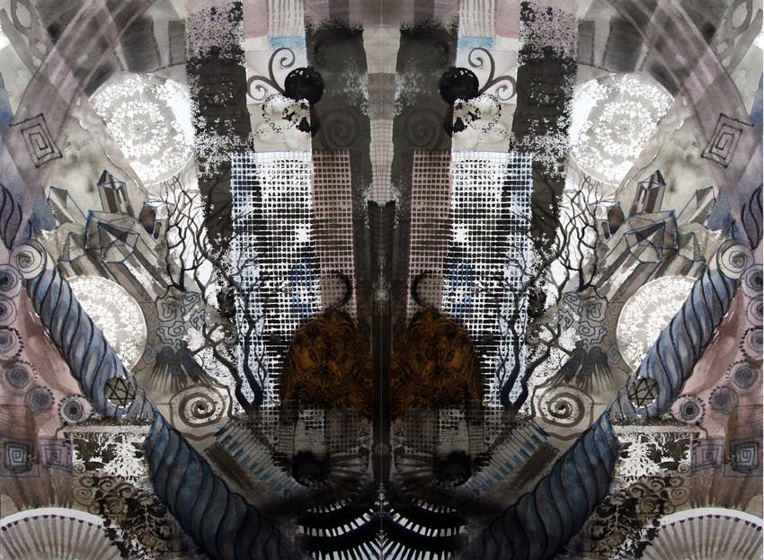 Spiegelwelt der Farbe Schwarz