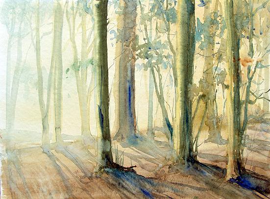 Morgens im Wald / Aquarell