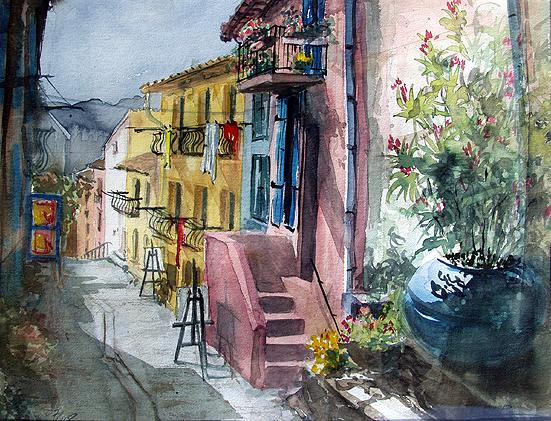 Ortsansicht Collioure Südfrankreich, Aquarell gemalt von Jopie Bopp