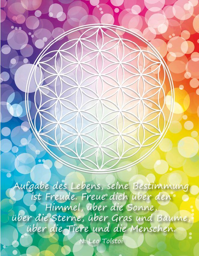 Postkarte Blume des Lebens Bunt