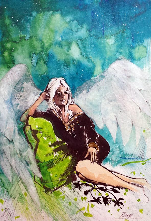 Engel in Grün, Aquarell und Tusche