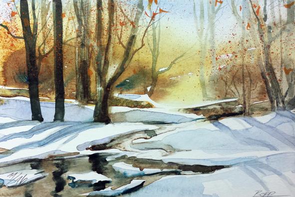 #Landschaftsaquarell #Winterlandschaft #schnee #Odenwald gemalt von Jopie Bopp