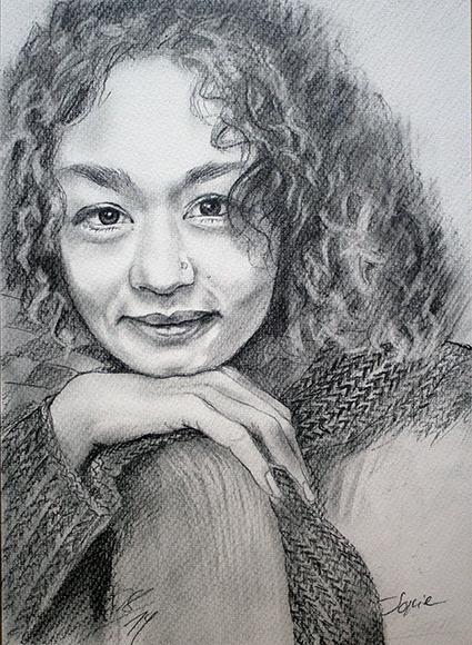 Isabel Ringhof, Bleistiftzeichnung + schwarzer Bundstift, 30 cm x 40 cm