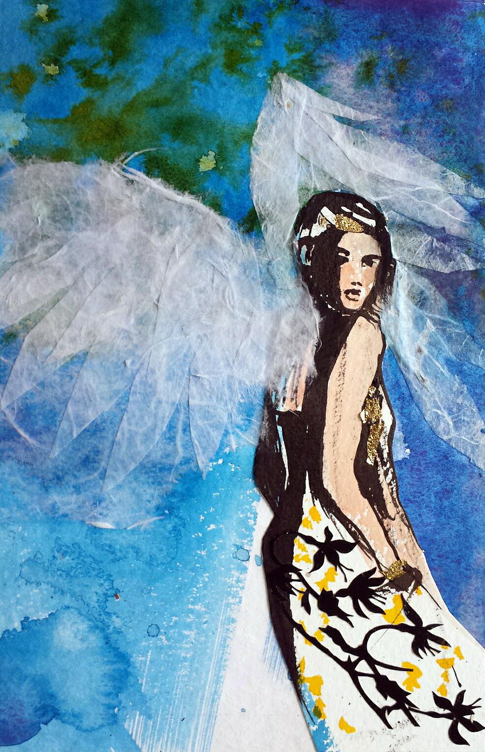 Engel in Blau, Aquarell und Tusche