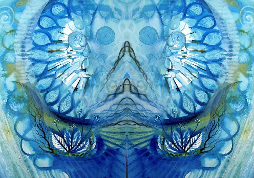 Spiegelwelt der Farbe Blau