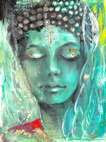 Grüne Tara weiblicher #Buddha der #Befreiung gemalt von #Jopie Bopp, #InnererFrieden #meditation #buddha #innereslicht