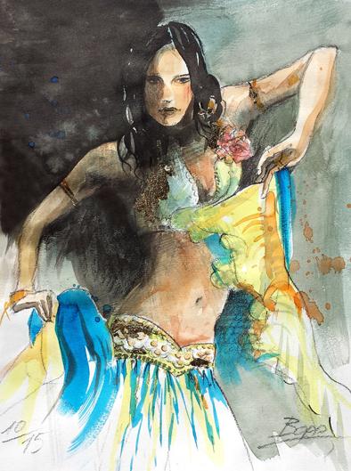 Oriantalische Tänzerin, Aquarell, Blattgold und Tusche, 30 cm x 40 cm