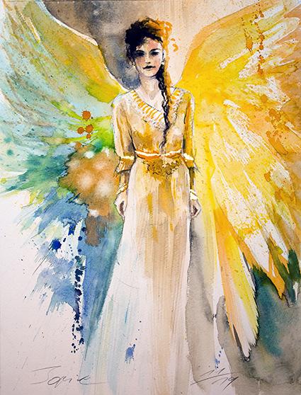 Engelbild, Engel der Liebe Himmelsblüte, Angel of Love, gemalt von Jopie Bopp