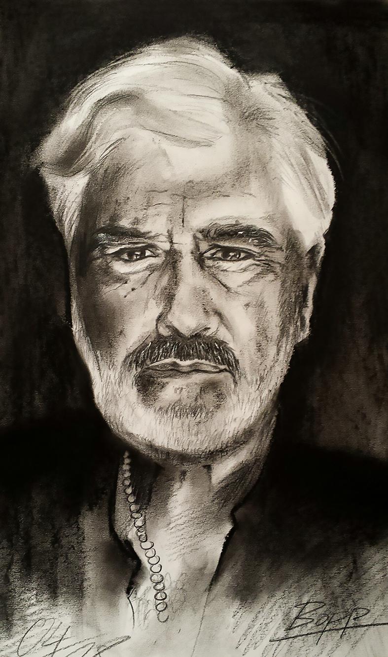 Mario Adorf, Pastellkreide schwarz, 30 cm x 40 cm