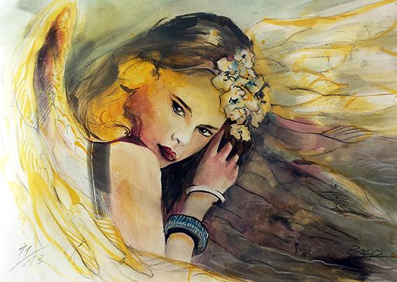 Engelbild, Engel der Geheimnisse, Angel of Secrets, gemalt von Jopie Bopp