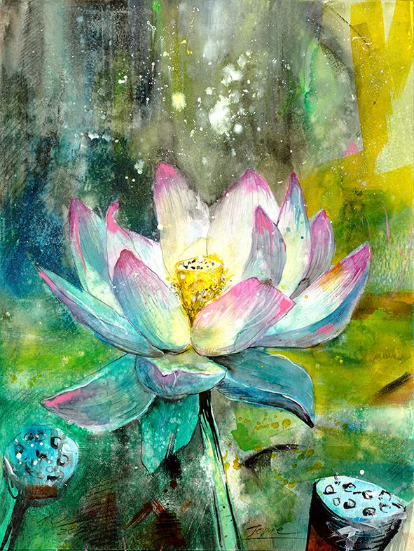 Lotusblüte #Jopie #Lotus #Blumenaquarell #Entspannung #Meditation
