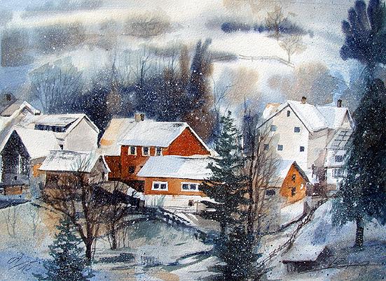 Landschaftsaquarell Heiligkreuzsteinach Odenwald gemalt von Jopie Bopp