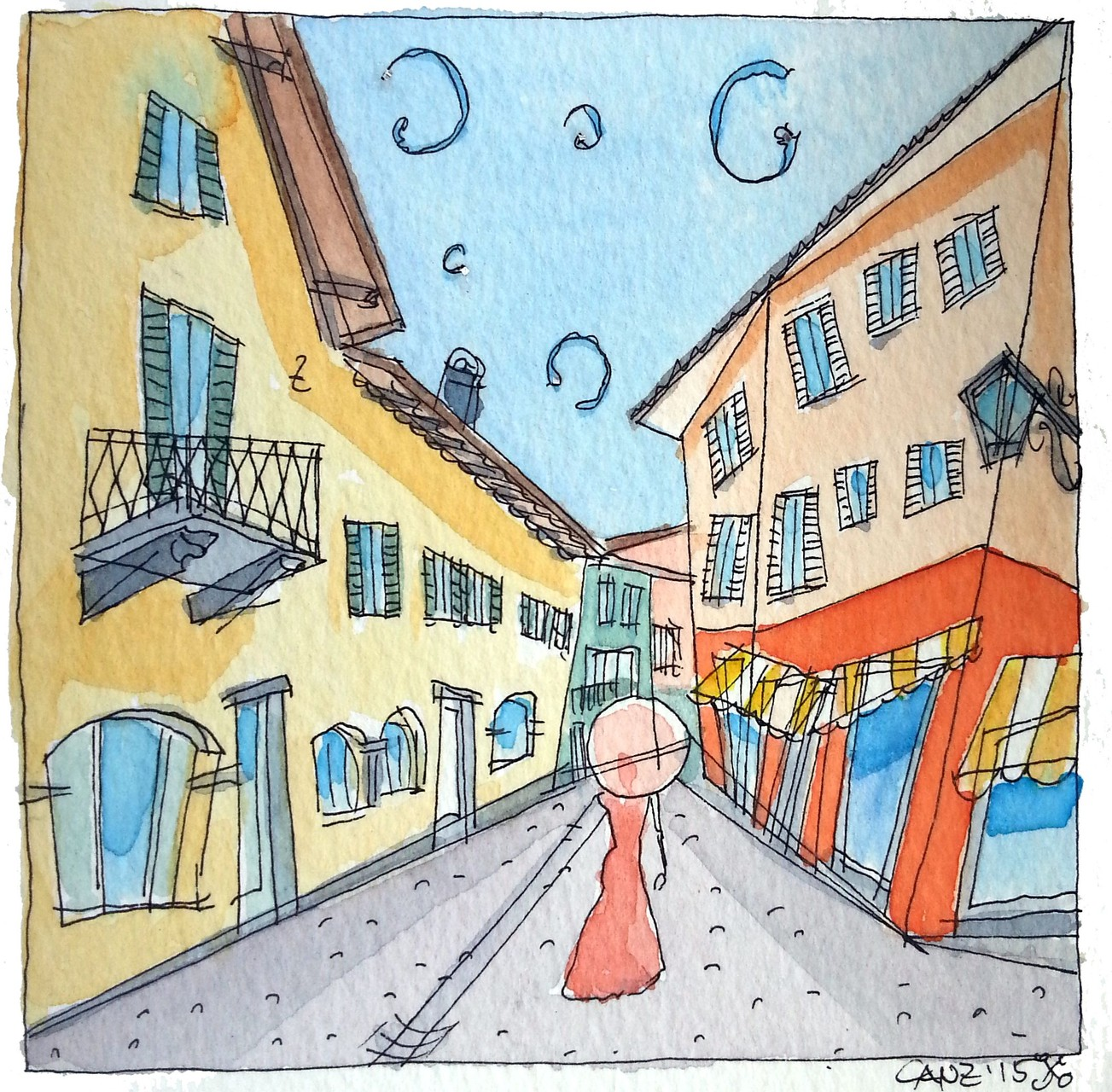 """Shopping"" a Borgo -  - acquerello 9 x 9 cm"